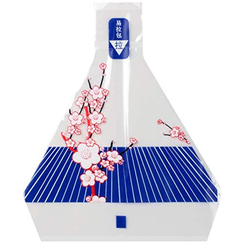 J.F.L Sakura - Juego de 100 bolsas de bolas de arroz y pegatinas, diseño de bolas de arroz triangulares japonesas, papel de regalo de sushi de calidad alimentaria (morado)