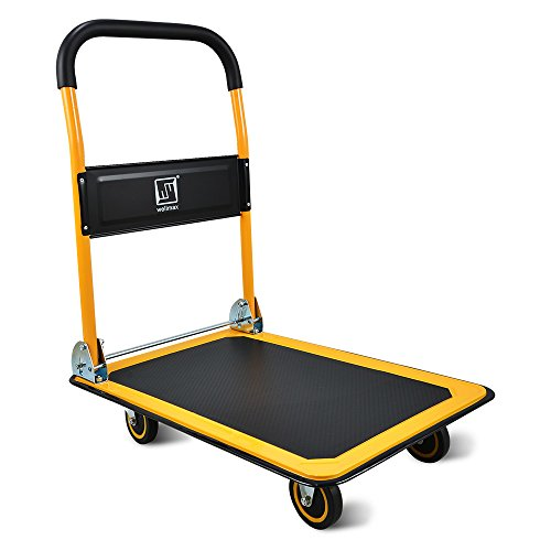 Push Cart Dolly by Wellmax, Moving Platform Hand Truck, Foldable for Easy Storage and 360 Degree Swivel Wheels with 660lb Weight Capacity, Yellow Color