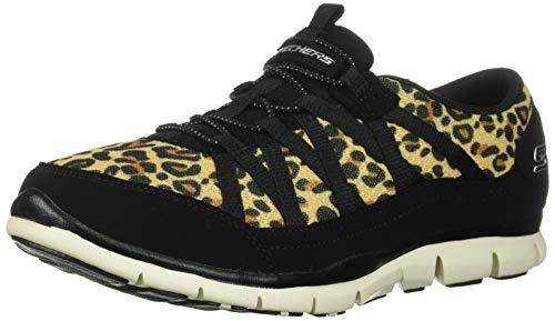 Skechers Women's Fashion Sneaker, Leopard Mesh/Tan Trim, 8.5