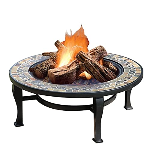 Wood Fire Pits Outdoor 86cm Garden Wood Burning Fire Bowl, Outdoor Wood Burning Brazier, Party Camping Picnic Grill (Color : Kit-3)