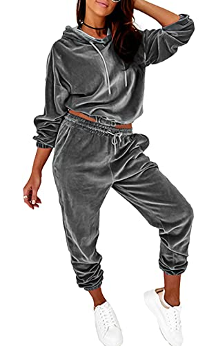 PRETTYGARDEN WomensVelour Tracksuits Set Hooded Pullover Sweatpants Long Sleeve 2 Piece Joggers Outfits (Gray, l)