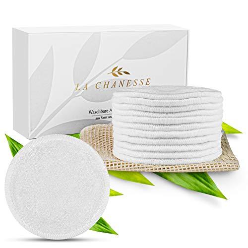 LA CHANESSE ® Premium Waschbare Abschminkpads aus Samt und Bambus - 12 Pads inkl. Wäschenetz - nachhaltige, wiederverwendbare Wattepads