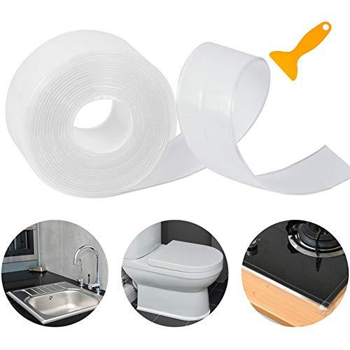 Dreetino Dichtungsband Selbstklebend, 3.2m Dichtband für Dusche, Bad, Küche und Toilette mit Dichtungswerkzeug - Transparent (Single Falten)