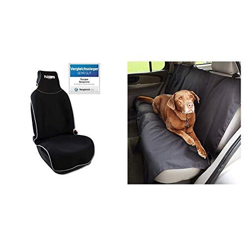 fixcape Neoprene, Vergleichssieger Autositzbezüge universal wasserdicht, Schwarz-Grau & AmazonBasics Auto-Rücksitzabdeckung für Hunde