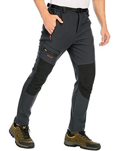 DAFENP Pantalones Trekking Hombre Impermeable Pantalones de Escalada Senderismo Alpinismo Invierno Polar Forrado Aire Libre KZ1662M-DarkGrey2-L