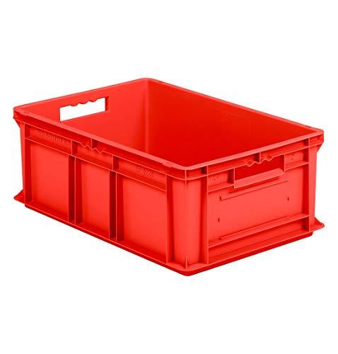 SSI Schäfer EF 6220 Eurokiste Kunststoffbox Transportbox offen ohne Deckel, 600x400 mm, 43,5 l, 20 Kg Tragkraft, Made in Germany, Rot