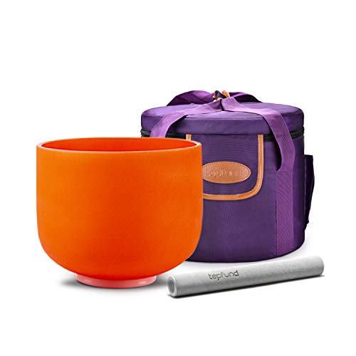 Topfund D Note Crystal Singing Bowl Sacral Chakra Orange Color 8 Inch O-Ring And Rubber Mallet Included