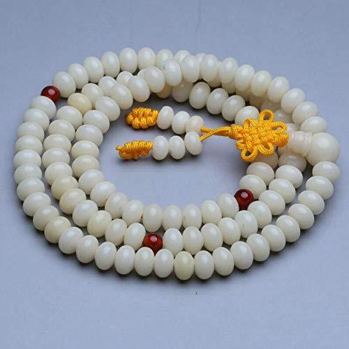 JONJUMP Mala-Halskette, tibetischer Buddhismus, 108 weiße Bodhi-Wurzel, flache Perlen, Gebetskette, 6 x 9 mm
