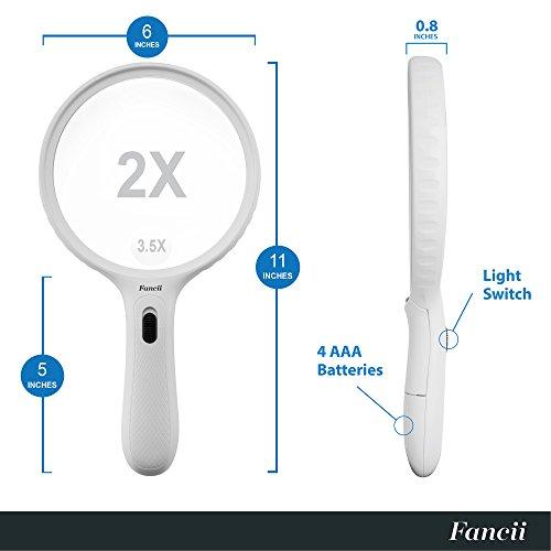 Fancii große Leselupe Lupe mit LED Licht und 2-fach 3,5-fach Vergrößerung – Grosse 138mm Beleuchtet Handlupe für Senioren zum Lesen - 5