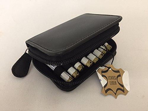 Kleine Taschenapotheke,schwarz,-PORTOFREI-,16 Mittel á 1,2g Globuli in UV-Schutzglas-Röhrchen in einem hochwertigen Leder Etui mit Strahlen-Abschirmung.
