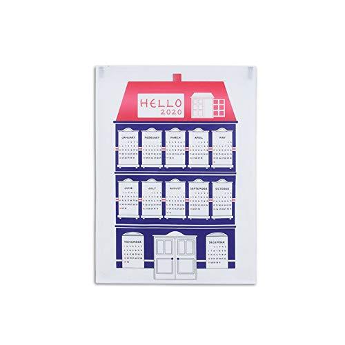 2020 kalender stof kleurrijke speciale thuis gedrukt muur kalender jaar dagboek studie planner adventskalender doek tapijt psychedelische muur opknoping deco 50 * 70CM