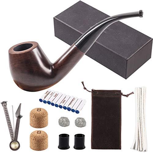 CUzzhtzy Exklusives Holzpfeife Set, Tief windundurchlässiges Holzpfeife mit Leder Tabakbeutel, Herren Gadget Gift Box (Color : Dark Grey)