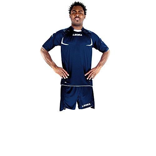Legea Herren Jungen Fußball Kit Trikot Shirt Short Hosen Klein Armel Hallenfußball Stoccolma Dunkelblau/Weiß (XL)