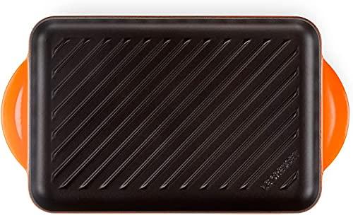 Le Creuset Gusseisen-Grillplatte, Rechteckig, 33 x 22 cm, Für alle Herdarten inkl. Induktion geeignet, Ofenrot