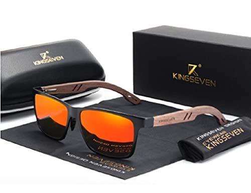 KINGSEVEN Gafas de sol unisex de madera de bambú, protección UV400, color naranja