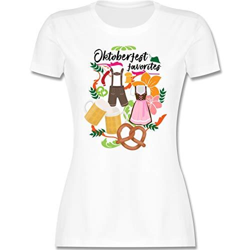 Oktoberfest & Wiesn Damen - Oktoberfest Favorites - S - Weiß - T-Shirt - L191 - Tailliertes Tshirt für Damen und Frauen T-Shirt