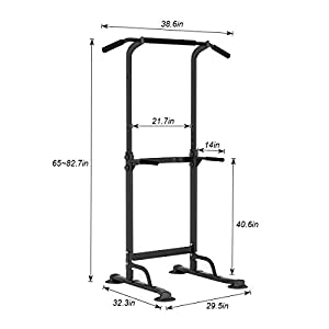 DlandHome Multi-Function Power Tower Adjustable Height Pull Up and Dip Station Strength Training Fitness Workout Station, PSBB005