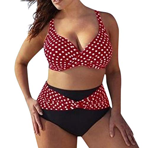 Riou Sexy Bikini Damen Set für Mollige Große Größen High Push Up Waist Punktdruck Zweiteilige Bikinis Cover Up Sommer Sport Große Cups Brüste Bademode mit Bügel für Beach Monokini (5XL, Rot)