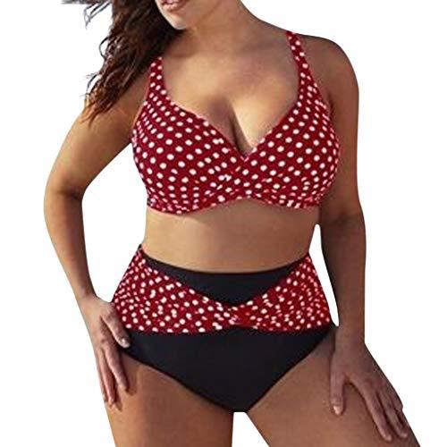Bikinis Mujer 2019 Tallas Grandes LANSKIRT Trajes de baño con Estampado de Puntos para Mujeres bañadores Casual Conjunto de Bikini Tangas Dos Piezas para Playa Verano Tankini S-5XL