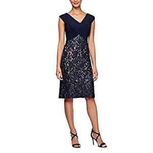 "Stretch jersey bodice Crisscross portrait collar neckline Embroidered skirt with sequin detail Center back length: 39"" Style # 81122224 Weave Type: Knit Sleeve Type: sleeveless Special Size Type: standard"