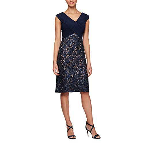 Alex Evenings Women's Shift Midi Lace Embroidered Dress (Petite and Regular), Navy/Nude, 18
