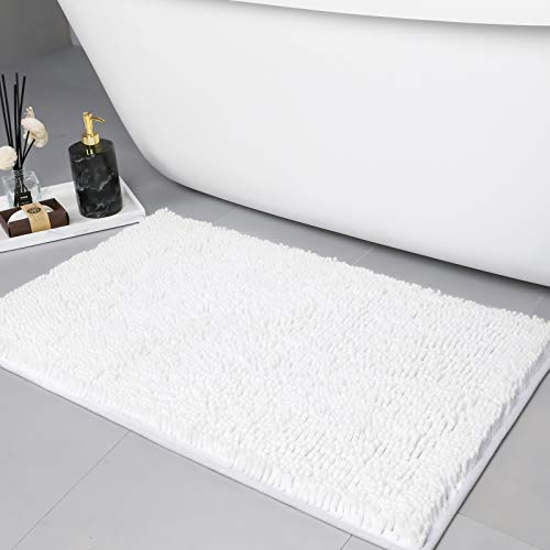 LINLA Non-Slip Soft Microfibers Chenille Bathroom Rug Mat, Machine Washable and Absorbent Fast Dry Kitchen Rugs,Thick Modern Plush Carpet for Tub,Shower, Bath Room,and Door(32x20 inches, White