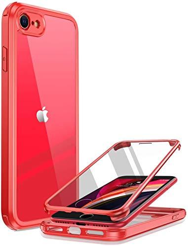 Miracase iPhone SE 2020 Hülle/iPhone 8 Ganzkörper Schutzhülle mit eingebauter Glas-Displayschutzfolie, Transparent Durchsichtig Schutzhülle, Rot