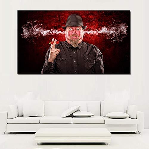 tzxdbh HD-prints voor mannen, eten, peper, oor, roken, abstracte portretschilderij canvas geprint, wanddruk, poster voor woonkamer No Frame 30x55 D