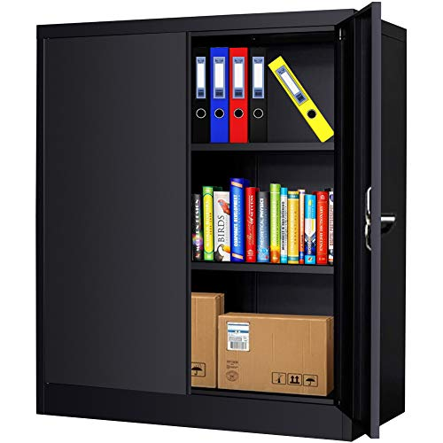 Metal Storage Cabinet with Locking Doors, Lockable Steel Storage Cabinet with 2 Doors and Shelves, Black Metal Cabinet with Lock, Small Steel Cabinet for Office, Garage, Home, Shop INTERGREAT