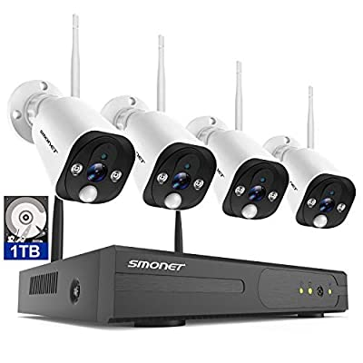 ?PIR Sensor&Two-Way Audio?SMONET Security Camera Systems Wireless,8-Channel Full HD 1080P Home Camera System(1TB Hard Drive),4pcs 2.0MP Outdoor Indoor Floodlight Security Cameras,NVR Kits Night Vision