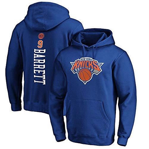 BMSD Unisex Jersey Hoodies Hombre NBA New York Knicks No. 9 Jersey Azul Pullover Sudaderas de Manga Larga Ropa, S