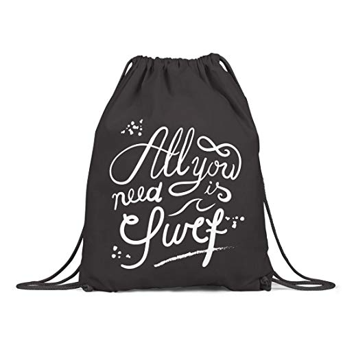 BLAK TEE All You Need Is Surf Slogan Organic Cotton Drawstring Gym Bag Black