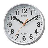 ランデックス(Landex) 掛け時計 電波 アナログ ミニプラス 直径18cm 連続秒針 置き掛け兼用 シルバー YW9162SV