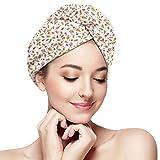 N/A Toalla de pelo turbante de microfibra de secado rápido, patrón de concepto de naturaleza dulce...