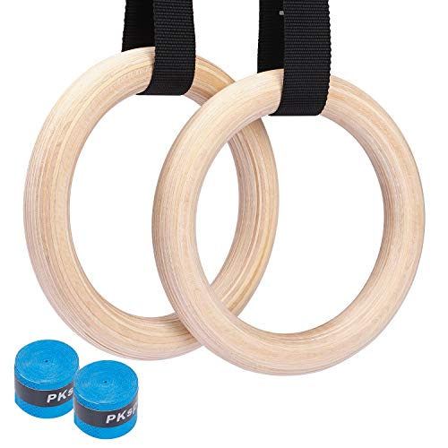 Suny Smiling Wooden Gymnastic Rings 1500lbs Calisthenics Equipment with 15ft Heavy Duty Straps,Non-Slip Training Rings or Pull Ups and Dips,Cross-Training Workout,Strength Training,Fitness