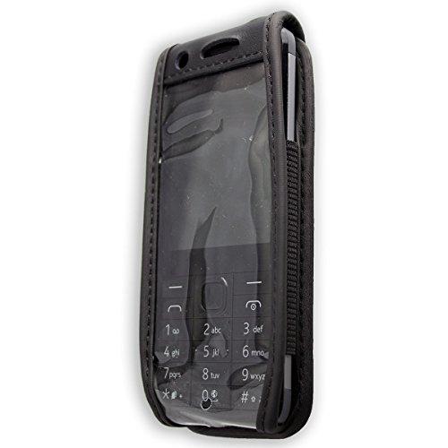 caseroxx Ledertasche mit Gürtelclip für Nokia 230 aus Echtleder, Handyhülle für Gürtel (mit Sichtfenster aus schmutzabweisender Klarsichtfolie in schwarz)