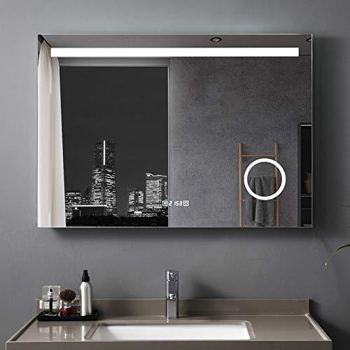 LISA Badspiegel 80 x 60 cm mit Beleuchtung LED Rechteckig Badezimmer Wandspiegel Antibeschlage Lichtspiegel mit Touchschalter IP44 Kaltweissen