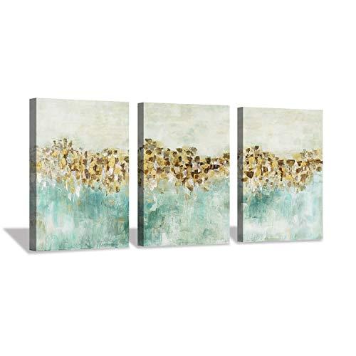 Hardy Gallery Tela Artistica da Parete Astratta Color Foglia di tè con casetta d'oro, per Ufficio (40,6 x 30,5 x 3 Pezzi)