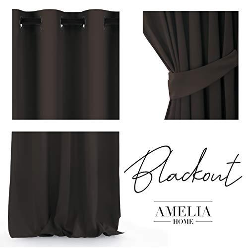 AmeliaHome Blackout - Cortina Opaca (140 x 245 cm), poliéster, marrón, 140 x 245