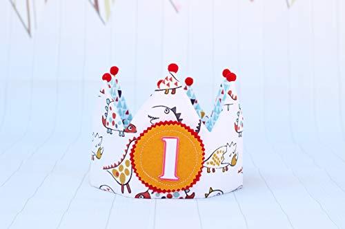 Corona cumpleaños dinosaurios reversible, decoración smash cake niños