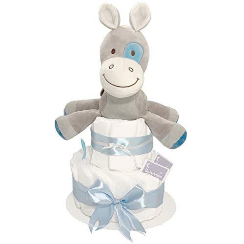 Pandawal Windeltorte für Junge Blau mit Spieluhr süßer Esel Kuscheltier Ideal als Geschenk zur Geburt für Babyparty/Baby Shower Deko für Neugeborene