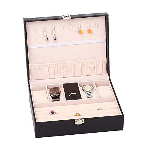 Caja Caja Joyero y Vitrina con Espejo para Pendientes Reloj Collar Pulseras Caja de Almacenamiento Accesorios STOR