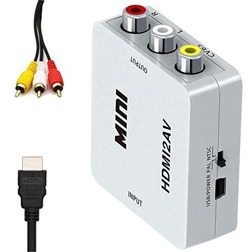 Bias&Belief Convertidor HDMI a AV, 1080P HDMI a 3RCA, Adaptador Compuesto de Audio Video CVBS con Cables HDMI y Cables RCA, Adecuado para PC/Computadora Portátil/DVD,Blanco