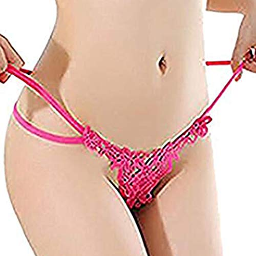 Women Hollow Out Flower Underwear Sexy Hollow-Out Low-Rise Elastic T-Back (Hot Pink)