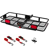 """KING BIRD Upgraded 60' x 24' x 6' Folding Hitch Mount Cargo Carrier, 500LBS Capacity Luggage Basket Fits to 2""""Receiver with Hitch Stabilizer and Packing Straps"""