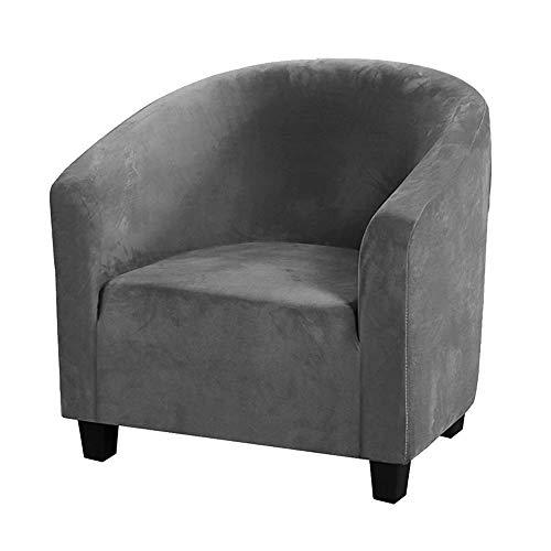 Mingfuxin Club Chair Schonbezug,Stuhlbezüge aus Samt mit hoher Dehnung Sessel Sofabezug Schonbezug Möbelschutz Weiche Couchbezüge (Grau, Samt)