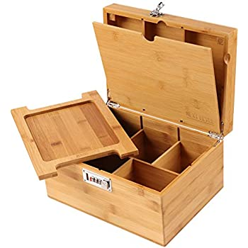 Stash Box Next Level STASH Box !!! Wooden Stash Box with Rolling Tray for Herbs and Accessories, Store Grinders, Papers, Portable Organizer with Dividers