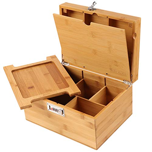 NEXT LEVEL STASH BOX !!! Wooden Stash Box with Rolling Tray for Herbs and Accessories, Store Grinders, Papers, Portable Organizer with Dividers