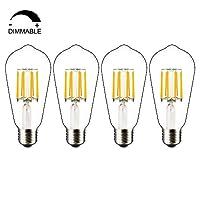[Dimmerabile Vintage Bulbs] - Schema dimmerazione super stabile, nessun sfarfallio, nessun ronzio o ronzio. [Risparmio energetico] - Questa lampadina a LED a filamento da 8W può sostituire la lampadina alogena o a incandescenza vintage 60W-80W, riduc...