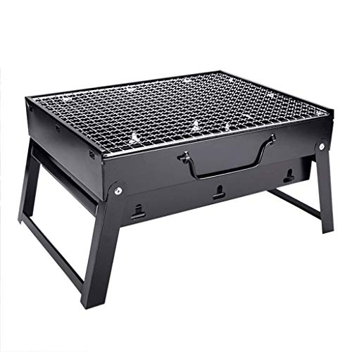 HAOT High-end Folding Charcoal Grill for Outdoor Camping - Tabletop Barbecue Grill for Picnic Small BBQ Kettle Patio - Black